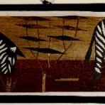Banana leaf painting: 2 zebras
