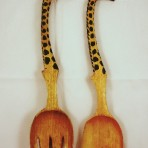 Giraffe salad spoon and fork set