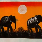 Painting of 2 elephants