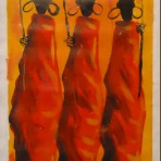 3 Maasai women painting