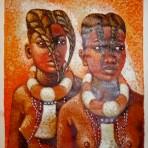 Himba tribeswomen painting