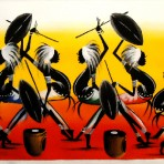 Painting of dancing warriors