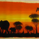 Elehants and giraffes painting