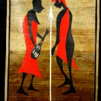 Banana leaf Maasai couple
