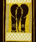 Elephant and giraffe wall hanging