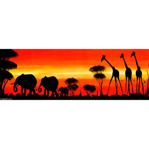 elephants and giraffes sunset