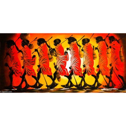 walking maasai women sunset