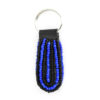 Beaded keychain - blue and black