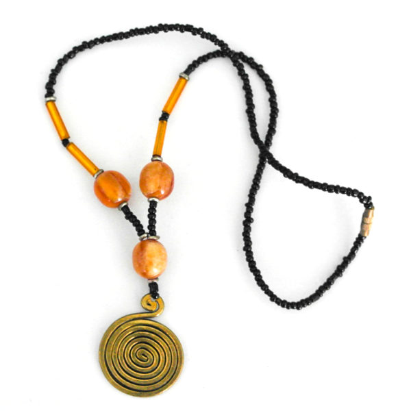 Tan-beaded brass pendant necklace