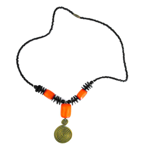 Orange-beaded brass pendant necklace