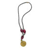 Red-beaded brass pendant necklace