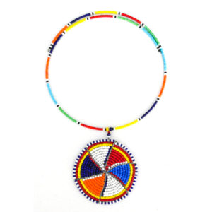 Multicolored beaded circle pendant necklace