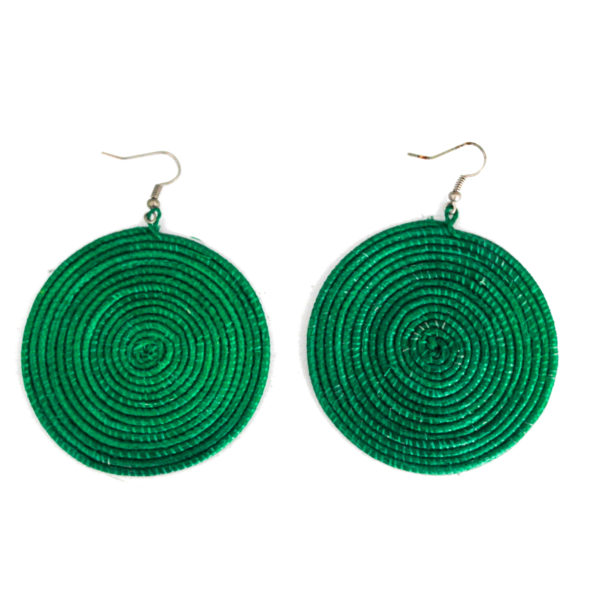 Round sisal earrings - green