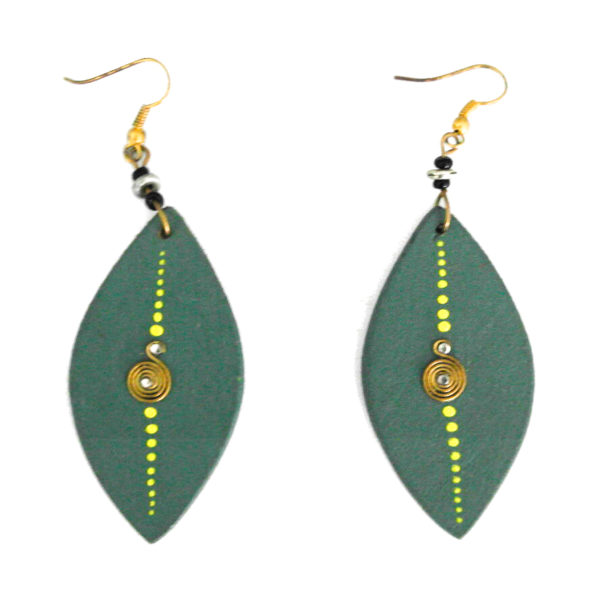Wooden earrings - green
