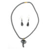Hematite necklace and earrings - elephant