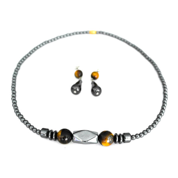 Hematite necklace and earrings - tigers eye