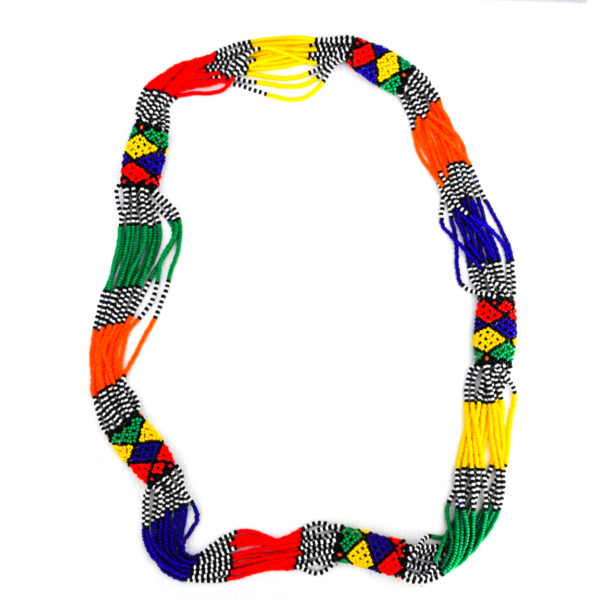 Long multicolored beaded necklace