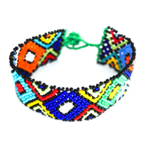 Multicolored triangle bracelet - blue