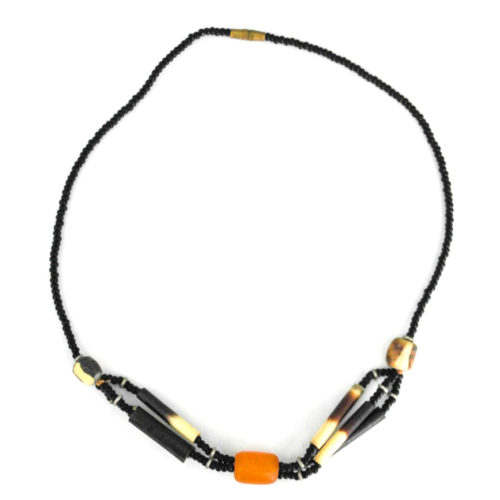 Orange bead pendant necklace