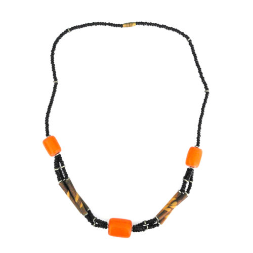 Orange square bead pendant