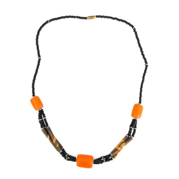 Orange square bead pendant