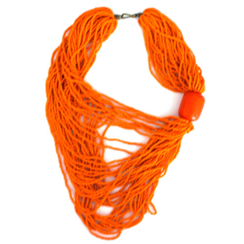 Draped orange beaded necklace