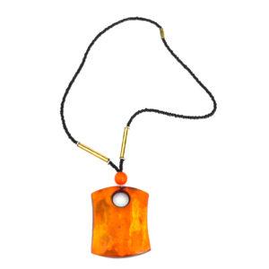 Square orange pendant necklace