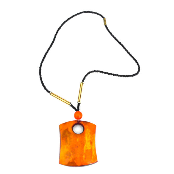 Square orange pendant necklace