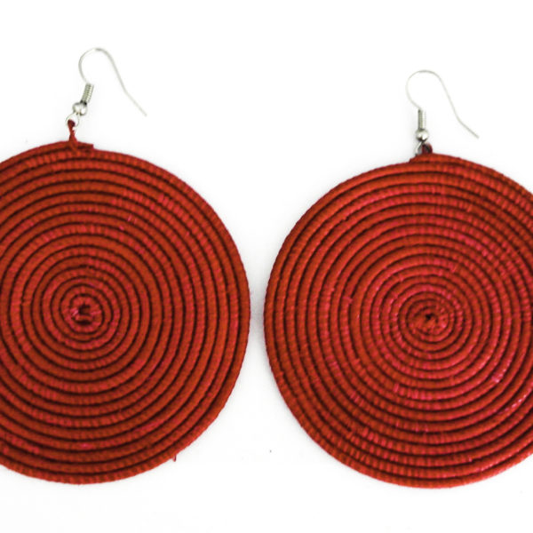 Round sisal earrings - pink