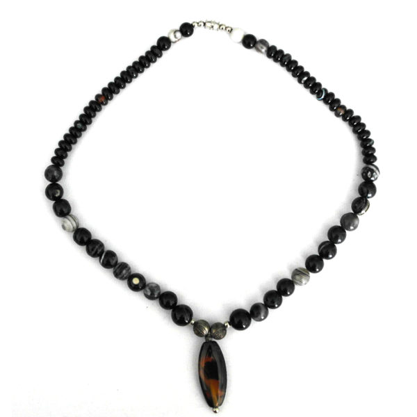 Stone pendant necklace with green beads