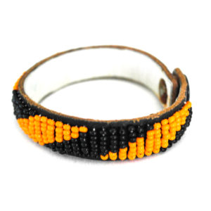 Thin beaded bracelet-orange and black