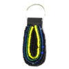 beaded keychain - blue and yellow